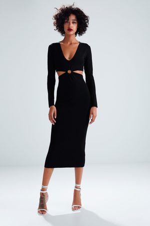 Zara Vestito lungo in maglia cut out