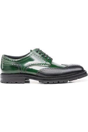 Design Italian Shoes Volta - Derby Uomo Pelle Decolorata Verde Chicco di Riso Nero