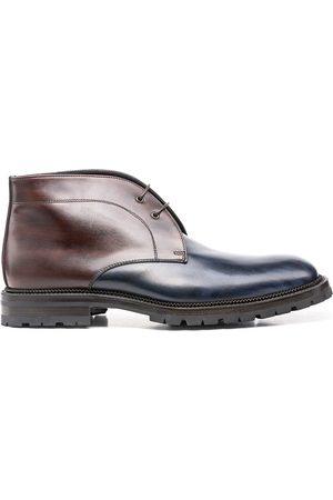 Design Italian Shoes Marco Polo - Polacchino uomo pelle decolorato blu scuro testa di moro