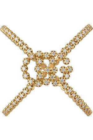 Gucci Anello a forma di X GG Running con diamanti
