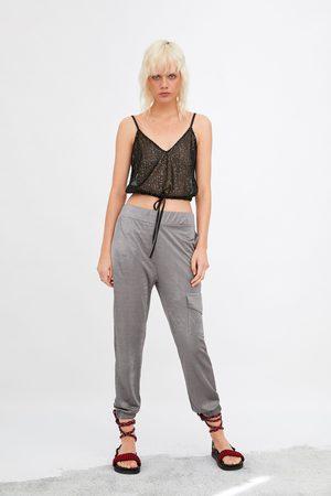 Zara Donna Cargo - Pantaloni cargo satinati