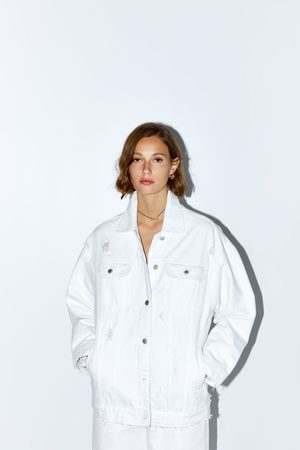 Zara Donna Giacche di jeans - Giubbotto denim oversize con strappi