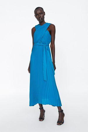 Zara Vestito plissettato incrociato