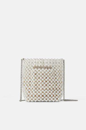 Zara Mini borsa a secchiello perle