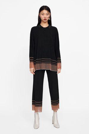 Zara Pantaloni strutturati con orlo a contrasto