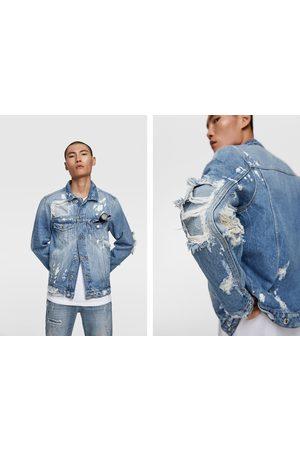 Zara Uomo Giacche di jeans - Giubbotto denim con toppe