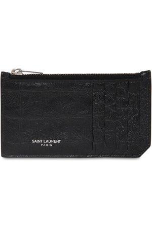 Saint Laurent Porta Carte In Pelle Con Zip