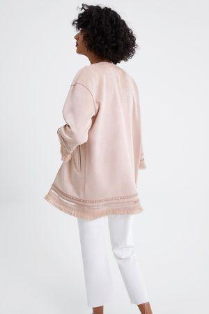 Zara Giacca effetto camoscio con frange
