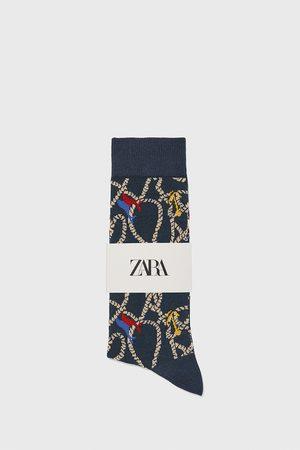 Zara Uomo Calze - Calzini cotone mercerizzato jacquard nautico