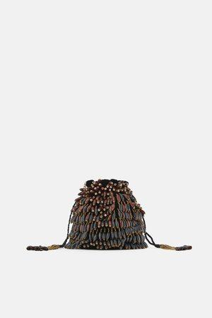 Zara Borsa a secchiello con perline di legno