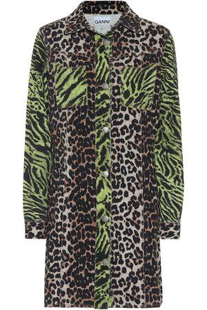 Ganni Abito di jeans a stampa leopardata e tigrata