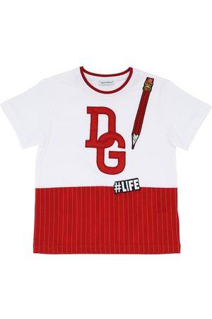 Dolce & Gabbana T-shirt In Jersey Di Cotone Con Stampa Logo