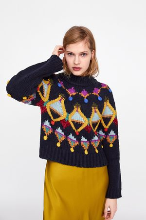 Zara Pullover in maglia con ricamo
