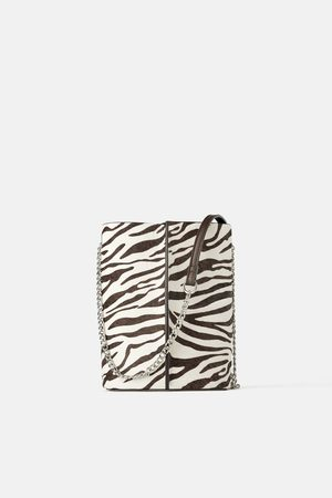 Zara Borsa a tracolla a secchiello in pelle con stampa animalier