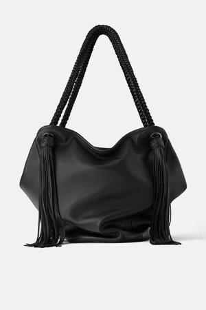 Zara Borsa shopper in pelle con frange