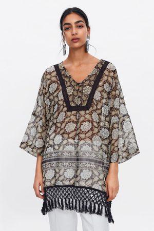 Zara Donna Tuniche - Caftano stampato con filo lamé