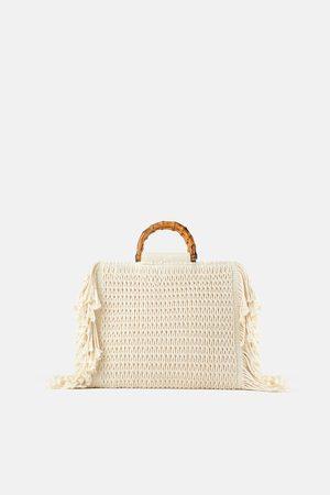 Zara Borsa shopper in tessuto con frange