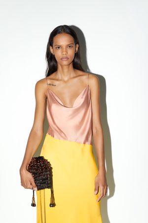 Zara Donna A tracolla - Borsa a secchiello con perline di legno