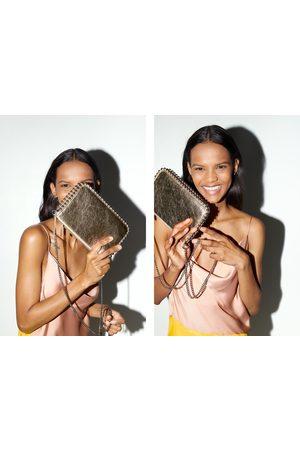 Zara Donna Clutch - Borsa a tracolla a pochette con borchie