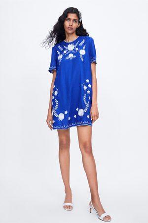 Zara Donna Vestiti estivi - Vestito con ricami in lino