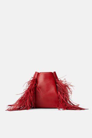 Zara Donna A tracolla - Borsa a secchiello in pelle piume
