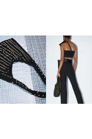 Zara Donna A tracolla - Borsa a secchiello in crochet con perline