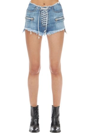UNRAVEL Shorts In Denim Di Cotone Washed