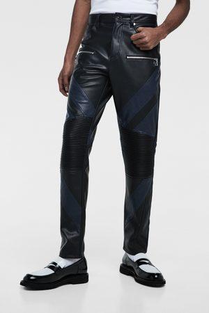 Zara Uomo Di pelle - Pantaloni biker effetto pelle color block