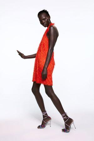 Zara Donna Vestiti - Vestito con frange e collo halter