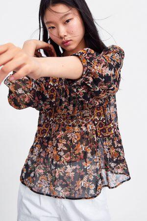 Zara Donna Bluse - Camicetta con stampa floreale e ricami