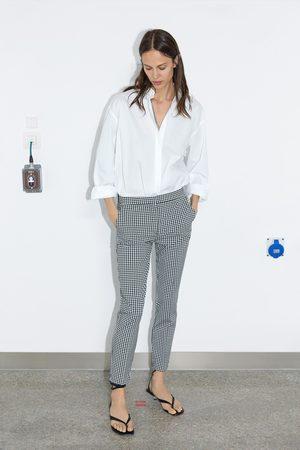 Zara Donna Pantaloni jogger waist a quadretti