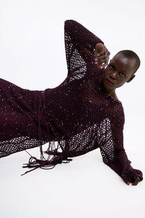Zara Donna T-shirt - Maglia a rete con paillettes