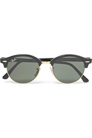 Ray-Ban Uomo Occhiali da sole - Clubmaster Round-Frame Acetate and Gold-Tone Polarised Sunglasses