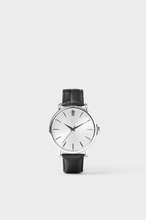 Zara Orologio look vintage cinturino pelle nera
