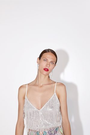 Zara Maglietta frange paillettes