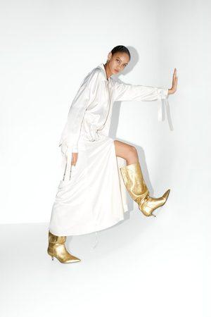 Zara Stivali con tacco medio metallizzati