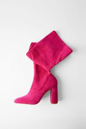 Zara Stivali con tacco in pelle scamosciata xl