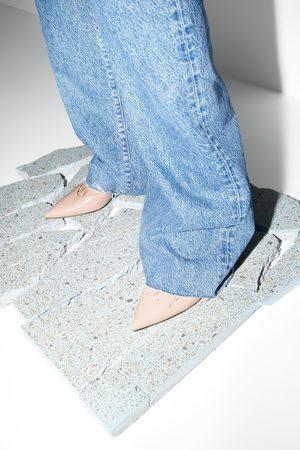 Zara Scarpe con tacco medio in pelle slingback