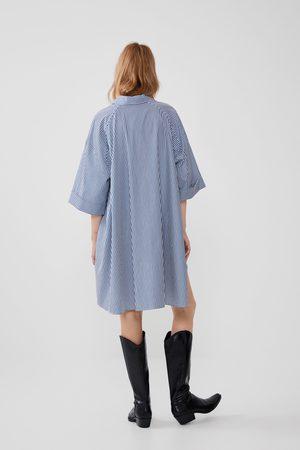 Zara Camicia in popeline a righe oversize