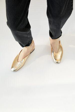 Zara Ballerine metallizzate legate