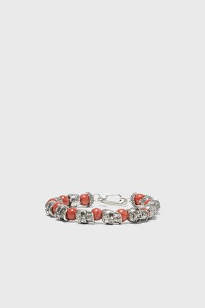 Zara Uomo Bracciali - Braccialetto perline teschi