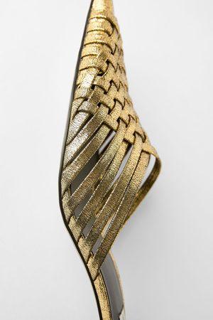 Zara Mules con tacco intrecciate metallizzate