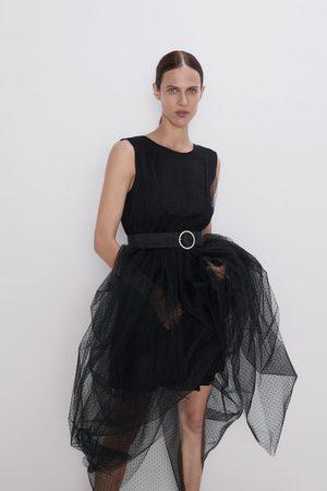 Zara Donna Vestiti longuette - Vestito midi tulle plumetis