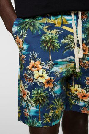 Zara Uomo Pantaloncini - Bermuda con stampa tropicale