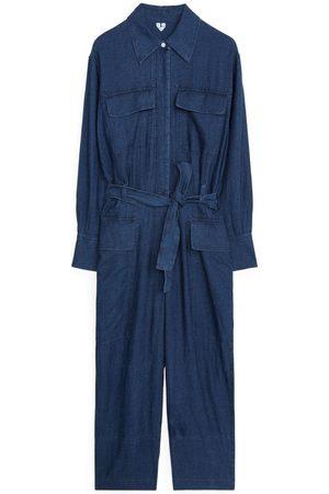 ARKET Cotton Linen Boiler Suit - Blue