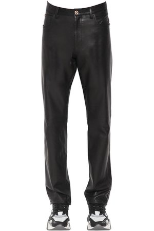 VERSACE Pantaloni Slim Fit In Pelle 17cm
