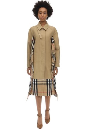 Burberry Trench In Tela Di Cotone Con Sciarpa Check