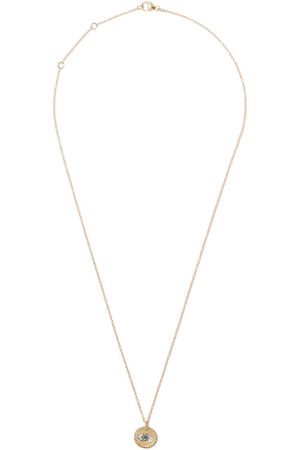 David Yurman 18kt yellow gold Cable Collectibles diamond and sapphire evil eye charm necklace - ABSBDDI
