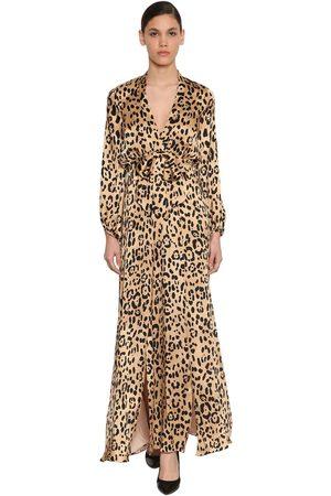 TEMPERLEY LONDON Abito In Raso Di Seta Leopard
