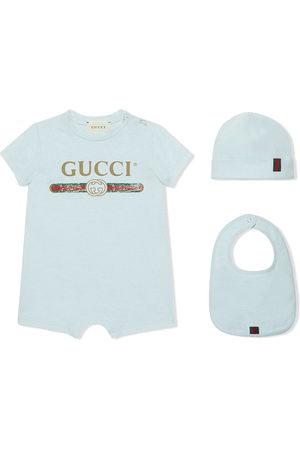 Gucci Set tutina bavaglino e berretto con logo